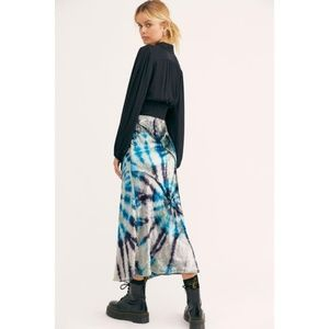 Free People • Tie Dye Velvet Midi Skirt